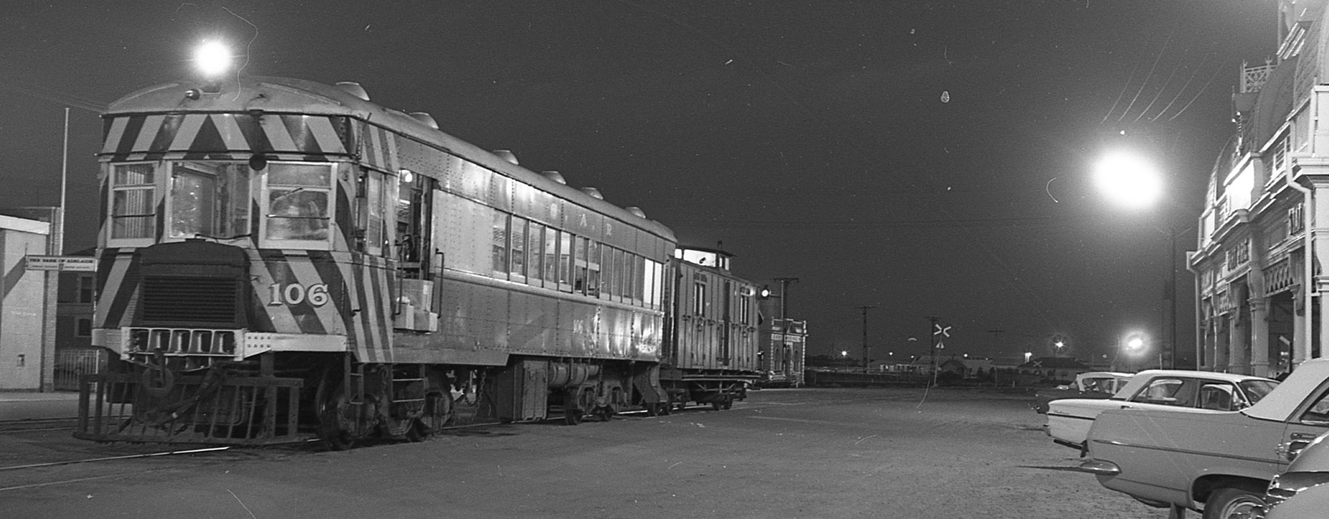 Brill railcar No. 106 at Port Pirie in November 1966, about to depart for Peterborough where it will connect with the Broken Hill Express.