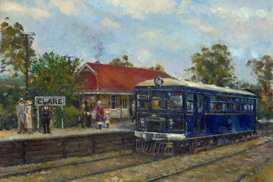 This painting is by Harry Sherwin of Model 55 petrol railcar