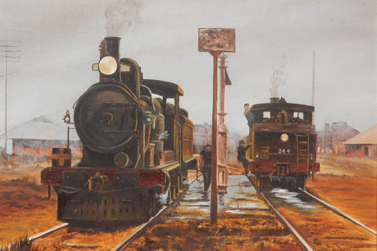 Painting was by Ken Field of F class tank engine 244