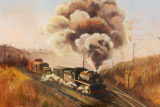 The weekly Willunga goods train headed by No. 706 departing Mile End, 1966. Painting by Ken Field.